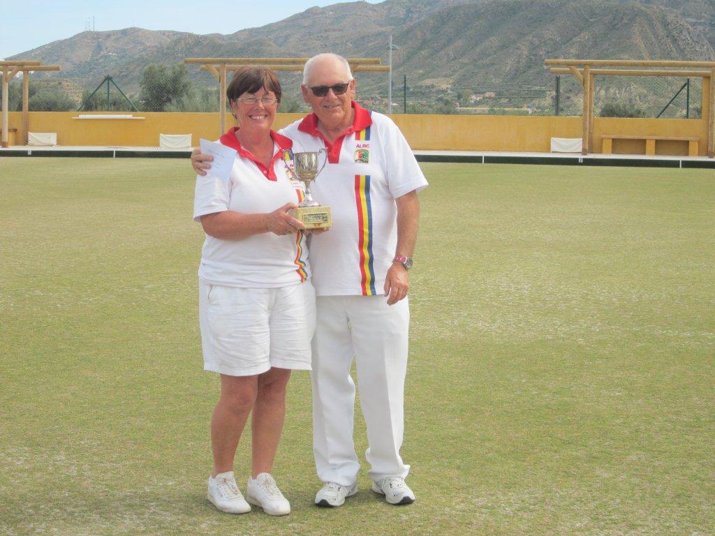 Winners Christine Parkinson and Reg Birmingham